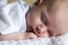 Sleeping Newborn Baby Boy Royalty Free Stock Photography