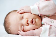 Sleeping newborn baby Royalty Free Stock Image