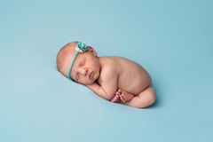 Sleeping Newborn Baby Girl with Blue Rose Headband Stock Images
