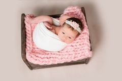 Sleeping newborn baby girl Royalty Free Stock Image