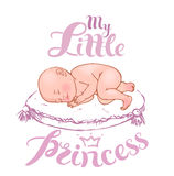 Sleeping  newborn baby girl. Illustration of sleeping  newborn baby-girl with decorative hand drawn lettering Royalty Free Stock Photos