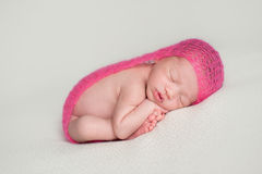 Sleeping Newborn Baby Girl Stock Images