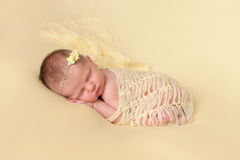 Sleeping Newborn Baby Girl Swaddled in Yellow Royalty Free Stock Photography
