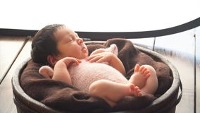 Sleeping Newborn Baby. 4k stock video footage