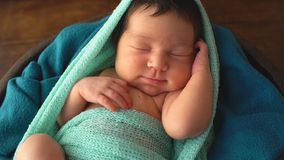 Sleeping Newborn Baby. 4k stock footage