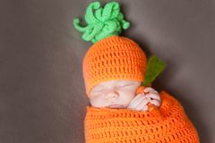 Newborn baby wearing a knitted carrot or pumpkin hat Royalty Free Stock Image