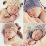 Sleeping newborn baby in a knitted hat. A collage of four photos-Sleeping newborn baby in a knitted hat:toddler on white blanket in beige knitted rompers and stock photo