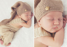 Sleeping newborn baby in a knitted hat Royalty Free Stock Image