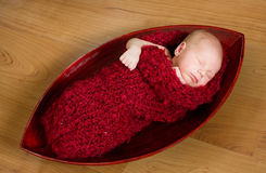 Sleeping newborn baby in red cocoon Royalty Free Stock Photo