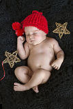 Sleeping newborn baby stock photos