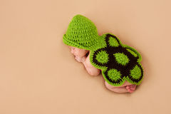 Sleeping Newborn Baby in Turtle Costume Royalty Free Stock Photo