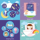Sleeping and night time, sweet dreams. Banners with sleeping time, night time, sweet dreams and sleep tight concepts icons in cartoon style. Little cute girl Royalty Free Stock Image