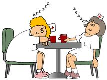 Sleeping Nurses. This illustration depicts two nurses sleeping at a table Royalty Free Stock Image
