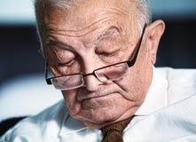 Sleeping old man. Fine portrait of sleeping old caucasian man Stock Image