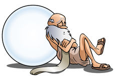Sleeping old man. Illustration of a sleeping old man take a nap lean on big ball you can write something on isolated white Stock Images