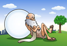 Sleeping old man take a nap lean on big ball. Illustration of a sleeping old man take a nap lean on big ball you can write something on city background Stock Photos