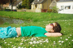 Sleeping On Grass Stock Images