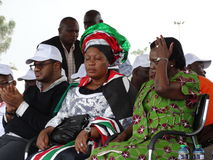 Sleeping opposition women rep at a rally Stock Images