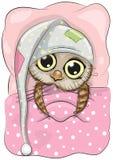 Sleeping Owl. Cute Cartoon Sleeping Owl with a hood in a bed Stock Images