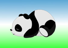 Sleeping panda on the ground. Against the sky Royalty Free Stock Image