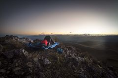 Sleeping at Pasochoa Summit royalty free stock photography