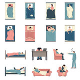 Sleeping People Flat Icons Set Stock Photo