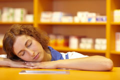 Sleeping pharmacist Royalty Free Stock Image