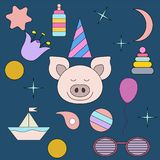 The sleeping pig.Face isolated animal for decoration. Children`s drawing. Delicate colors. The sleeping pig.Face isolated animal for decoration. Delicate colors royalty free stock image