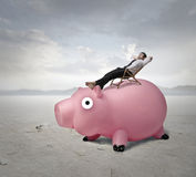 Sleeping on a piggy bank Stock Image
