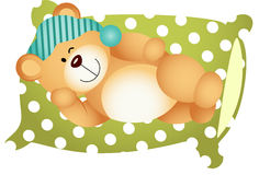 Sleeping on Pillow Cute Teddy Bear Stock Photo