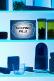 Sleeping Pills Medicine Cabinet. A medicine cabinet with sleeping pills and other products royalty free stock photos