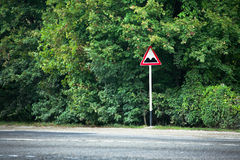 Sleeping policeman traffic sign. On rural road. Anapa, Russia royalty free stock image