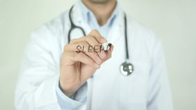 Sleeping Problems, Doctor Writing on Transparent Screen. Man writing stock video footage