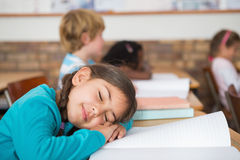 Sleeping pupil sitting at her desk Stock Images