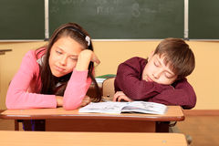 Sleeping Pupils Royalty Free Stock Images