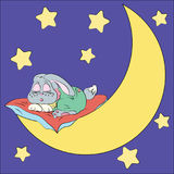 Sleeping rabbit on the moon drawing for children.  Stock Images