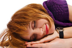 Sleeping red girl Royalty Free Stock Image