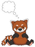 Sleeping red panda and clean sing. Cute red panda sit and sleep under the clean callout Stock Images