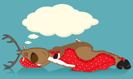 Sleeping reindeer. Covered with red blanket Stock Photography