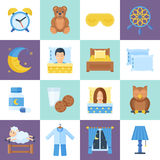 Sleeping rest time object set Stock Photo