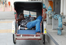 Sleeping Rickshaw Driver stock photography