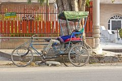 Sleeping rickshaw Royalty Free Stock Photo