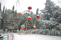 Sleeping roundabout. Roundabout in the winter in park during a snowfall Royalty Free Stock Photography