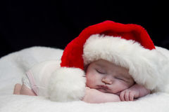 Sleeping Santa Baby Royalty Free Stock Photo