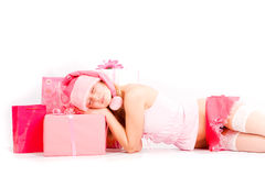 Sleeping santa helper Stock Image