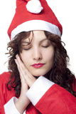 Sleeping Santa Woman Royalty Free Stock Image