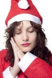 Sleeping Santa Woman Royalty Free Stock Image