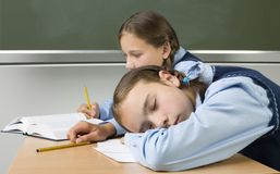 Sleeping at school royalty free stock photography