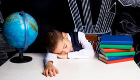 Sleeping schoolboy Royalty Free Stock Photos