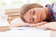 Sleeping schoolgirl. Stock Image